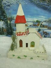 Vintage Mica Glittered Putz Cardboard Christmas Village Church OLDER JAPAN 1431