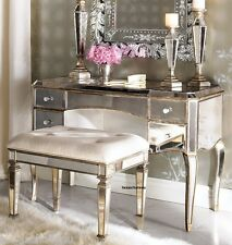 MIRRORED VANITY STOOL HOLLYWOOD REGENCY VINTAGE SHABBY FRENCH CHIC STYLE BENCH