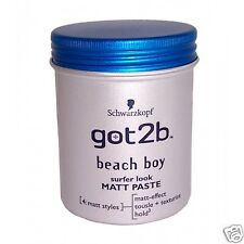 3 x Schwarzkopf Got2b Beach Matt Surfer Look Paste 100ml