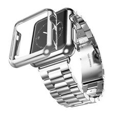 1pc Stainless Steel Strap Watch Band+Adapter+Case Protector F Apple Watch 2in 1
