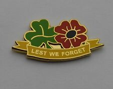 Remembrance Poppy & Shamrock Pin / Lapel Badge - Irish Regiments Veterans Ulster