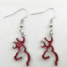 Hot 1 pair red Browning Deer Earrings Women Jewelry Dangle Earrings
