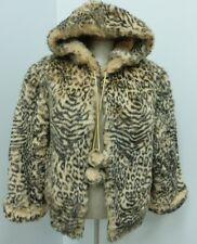 HOODED BEIGE LEOPARD HIGH QUALITY LEOPARD FAUX FUR JACKET  MUST SEE SIZE L