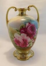 Nippon VASE with Pink/ Red ROSES Gold Beading Trim