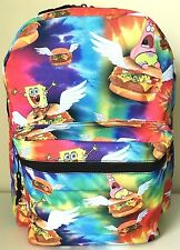 "SpongeBob 16"" Backpack Book Bag School Travel Comic Multi-color Krabby Patty NWT"