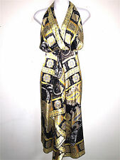 DRESS BARN COLLECTION WOMENS LADIES BLACK & YELLOW SATIN COCKTAIL DRESS ~SZ 14 W