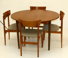Extending Round Teak  Dining Table and Four Chairs by Avalon. 1960s. Restored.