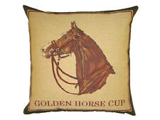 "18"" Golden Horse Cup Belgian Tapestry Cushion 45cm Horses Gold Equestrian"