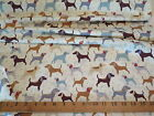 """DOGS AND DOTS LIGHT WEIGHT PRINTED COTTON FABRIC 45"""" (115cm) WIDE CRAFT OR DRESS"""
