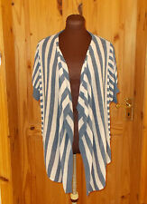 M&S denim blue cream stripe knit LINEN short sleeve waterfall cardigan top 12 40
