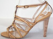 MANOLO BLAHNIK Tan Leather Twisted Straps Sandals Shoes 40.5  10
