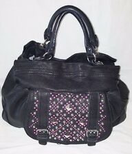Betsey Johnson Black Leather Large  Silver & Pink Studded Handbag