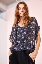 ULLA JOHNSON LIEF FLORAL-PRINT SILK BLOUSE TOP US 6 UK 10