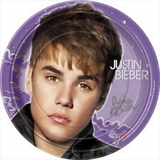 JUSTIN BIEBER New LARGE PAPER PLATES (8) ~ Birthday Party Supplies Dinner Lunch