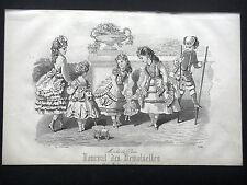 GRAVURE MODE 19e - JOURNAL DES DEMOISELLES JUILLET 1870 - JOUETS D'ENFANTS