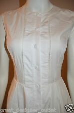Armani Exchange A|X Sheer Panel Midi Dress Shirtdress Full Skirt White Size 0 XS