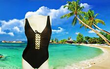 NEW GOTTEX brown gold SEQUINS SCRUNCH DESIGN SWIMSUIT BATHING SUIT 1 piece Sz 6