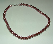 TAWNY ROSE PINK GLASS PEARL NECKLACE SILVER PL CATCH strand 16 INCH PRL