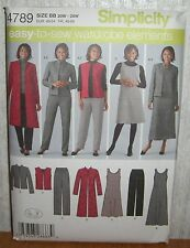 Womens Pants Jumper Vest Jacket Coat Sewing Pattern/Simplicity 4789/SZ 20W-28/UN