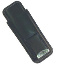 2 Cigar Black Leather Case with a Built in Stainless Cigar Cutter