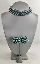 50s VINTAGE Jewelry ATOMIC TURQUOISE & BLACK GLASS NECKLACE SPUTNIK EARRING SET