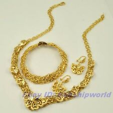 REAL POSH 18K YELLOW GOLD GP BUTTERFLY SET NECKLACE BRACELET EARRING SOLID F11