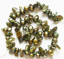 """Freshwater Pearl Olive Green BLISTER Stick Nuggets Loose Beads 15"""" Strand W6G"""