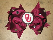 "NEW ""OKLAHOMA Sooners"" University Girls Ribbon Hair Bow Rhinestone Clip NCAA"