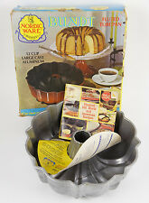 Vintage Nordic Ware Cast Aluminum Bundt Cake Fluted Tube Pan Natural 12 Cup Box