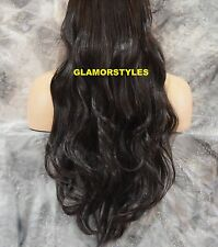 """20""""/140GR BROWN FLIP IN SECRET CLEAR WIRE HAIR PIECE EXTENSIONS NO CLIP IN/ON"""