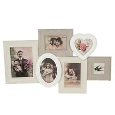 SASS AND BELLE VINTAGE SHABBY BOHO MULTI PHOTO FRAME COLLAGE WHITE GREY WALL