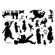 "8"" x 5"" Stamp Sheet, Silhouettes,kids, goat, horse #1"