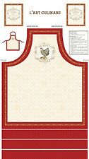 """French Country Roosters Cotton Fabric Farm 24""""X44"""" Cut & Sew Apron Project Panel"""