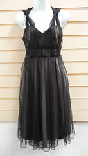 BLACK NET BALLERINA STYLE KNEE LENGTH PARTY / FORMAL DRESS SIZE 12 BNWT