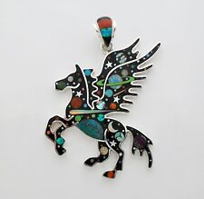 UNIQUE HANDCRAFTED PEGASUS TURQUOISE/MULTICOLOR INLAY IN .925  SILVER PENDANT