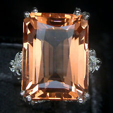 BIG SIZE! EXTRA FIRE PINK PEACH MORGANITE SAPPHIRE 925 SILVER RING