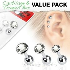 3 Pcs Value Pack of Assorted Surgical Steel Tragus Bar with Flat Clear Gem Top