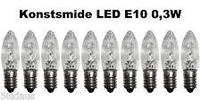 10 LED E10 0,3W Konstsmide Birnen Lampe Topkerzen Spitzkerze Riffelkerze ww klar