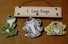 "5X5"" I LOVE FROGS country wood frog decor ornament plaque sign"
