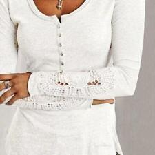 Womens Long Sleeve Shirt Casual Lace Blouse Loose Cotton Tops T Shirt NICE