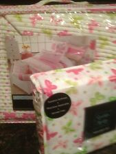 CYNTHIA ROWLEY 4PC TWIN QUILT & SHEETS SET DAISY DAYS BUTTERFLIES PINK GREEN