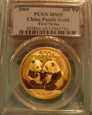 China 2009 Gold 1 oz Panda 500 Yuan PCGS MS-69