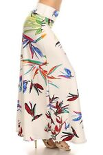 New womens White  High waist  Fold over Maxi Skirts Size Small Made in USA
