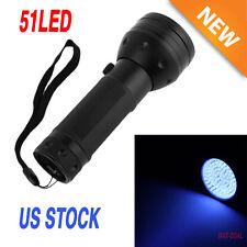 UV Flashlight Blacklight 395nm 51LED Ultra Violet Light Scorpion Detector Hunter