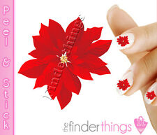 Christmas Poinsettia Flower Nail Art Decal Sticker Set CMS103