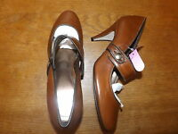 New Ex-High St. Ladies Tan Leather Mary Jane Shoes Size 6 Eur 40 (RRP £39.50)