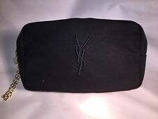 nwot authentic YSL black cloth ZIP TOP clutch w/medallion logo SAINT LAURENT