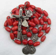 † ENORMOUS VINTAGE HAND BLOWN ART DECO GLASS ROSARY & 5 VERY RARE OLDER MEDALS †
