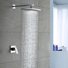 "8"" Chrome Rainfall Shower head Arm Control Valve Handspray Shower Faucet Set"
