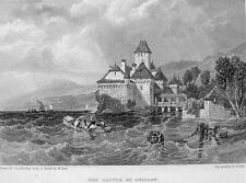 SWITZERLAND Chillon Castle - 1833 Antique Print Engraving